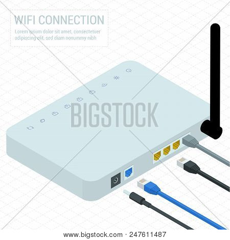 Isometric White Wireless Wi-fi Router With Three Antennas And Network Internet Data Connectors. Flat
