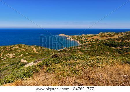 Landscape Of The Coast From Capo Pecora. Stony Coast At Capo Pecora Buggerru Sardinia Italy Europe