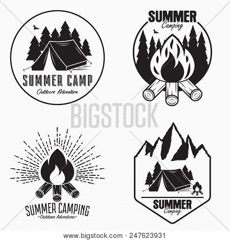 Vintage Summer Camp Logo Set. Camping Badges And Outdoor Adventure Emblems. Original Typography With