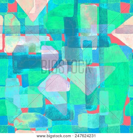 Bauhaus pattern. Holographic geometric watercolor abstract seamless print. Watercolour stripe background. Kaleidoscope lines. Contemporary art illustration. Bauhaus graphic design. Trendy texture poster