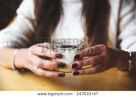 Girl Holds Glass Of Milk Or Yogurt. Eating. Copy Space. Breakfast, Snack. Lifestyle Concept A A