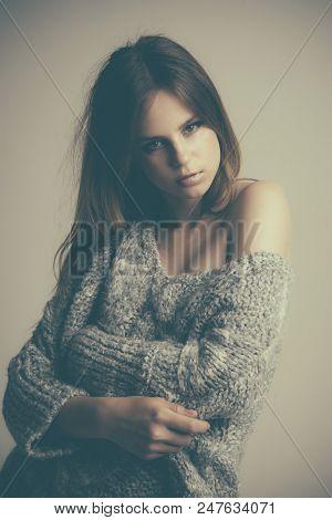 Fashion Woman Wear Fashion Sweater. Fashion Girl With Long Hair And Fashion Look.