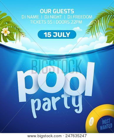 Pool Summer Party Invitation Banner Flyer Design. Water And Palm Inflatable Yellow Mattress. Pool Pa
