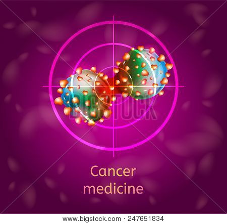 Cancer Medicine Conceptual Vector With Dividing Cancer Cells In Sight Cross Illustration. Detecting