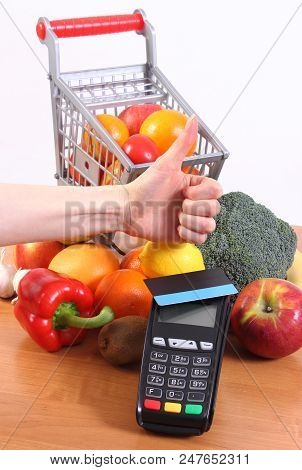 Payment Terminal, Credit Card Reader With Contactless Credit Card And Fresh Fruits And Vegetables Wi