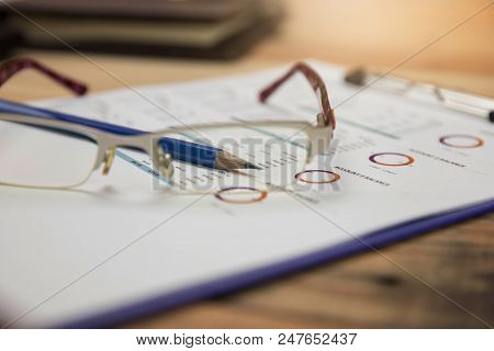 Business And Finance Concept Of Office Working, Office Desk In Working Day.