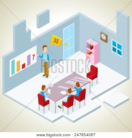 Illustration Of Presentation In A Meeting Room Isometric