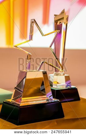 Star Shaped Glass Trophy For Winner At Corporate Gala Dinner Awards Banquet Event