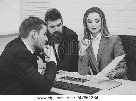 Business Negotiations. Business Partners, Businessmen At Meeting, Office Background. Business Negoti
