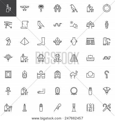 Egypt Elements Outline Icons Set. Linear Style Symbols Collection, Line Signs Pack. Vector Graphics.