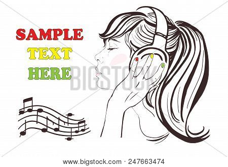 Pretty Girl With Long Hair In Headphones. Raster Hand-drawn Illustration. Woman Face Profile. Notes,