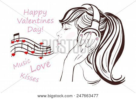 Happy Valentine Day, Pretty Girl With Dark Long Hair In Headphones Singing And Listen To Romantic Mu
