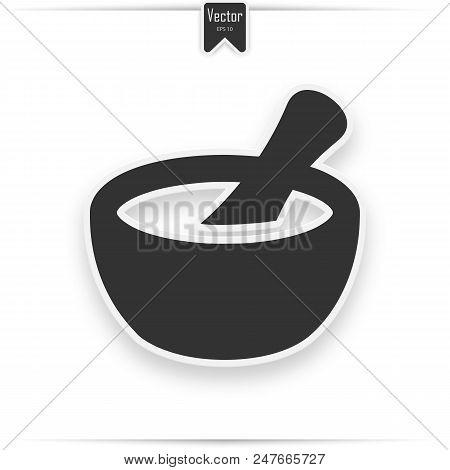 Mortar And Pestle Glyph Icon. Drop Shadow Naturopathy Silhouette Symbol. Alternative Herbal Medicine