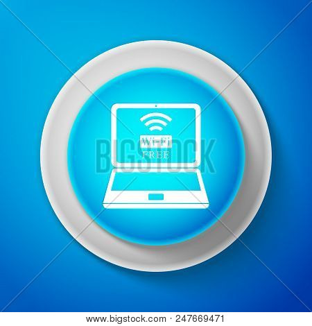 White Laptop And Free Wi-fi Wireless Connection Icon Isolated On Blue Background. Wireless Technolog