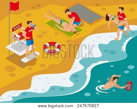 Beach Lifeguards Isometric Composition With Professional Rescue Team Working With Tourists Caught In