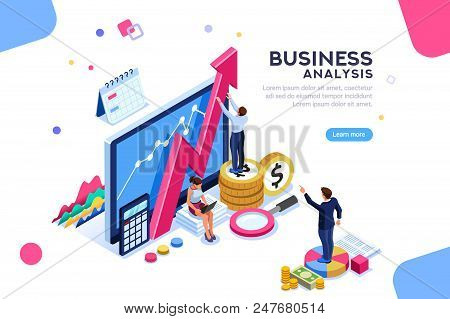Auditing, Business Analysis Concept With Characters. Concept Of Opportunities. Graphic And Audit Doc