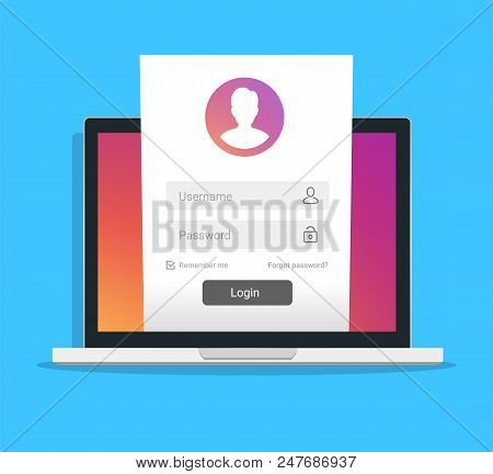 Registration page on notebook screen. Laptop online login form, sign in page. User profile, access to account concepts. Modern flat design graphic elements. Long shadow design. Vector illustration