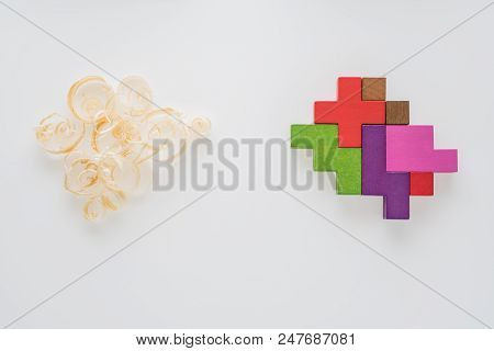 Heads Of Two People With Sawdust Brain Shape And Colorful Geometric Shape. Two People With Different