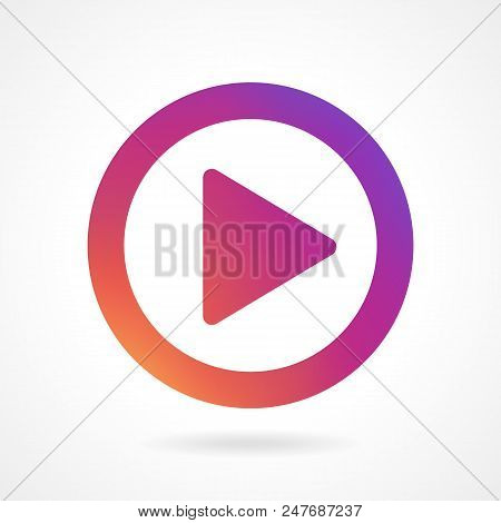 New Video, audio play icon, symbol, button, sign gradient color Instagram. Video play pictogram. Line icon, ui, app. Play outline icon colorful gradient Insta. Vector illustration EPS 10