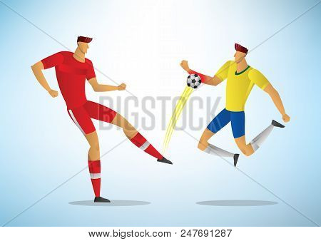Football Player Foul Touches The Ball With His Hand . Soccer Vector Illustration.
