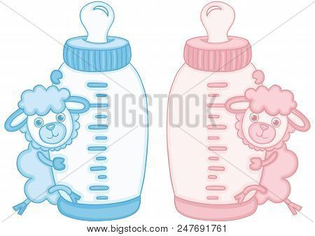 Scalable Vectorial Representing A Blue And Pink Cute Sheep With Baby Milk Bottle, Element For Design