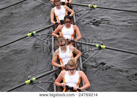 University of Tennessee women's Eights races in the Head of Charles Regatta