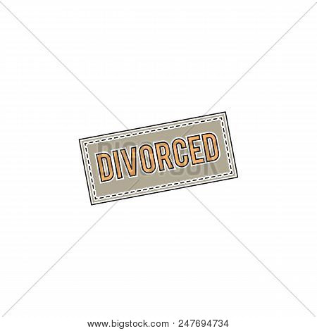 Vector Thin Line Icon, Rubber Stamp With A Word Divorced. Metaphor Of Divorce, Conflict And Break Up