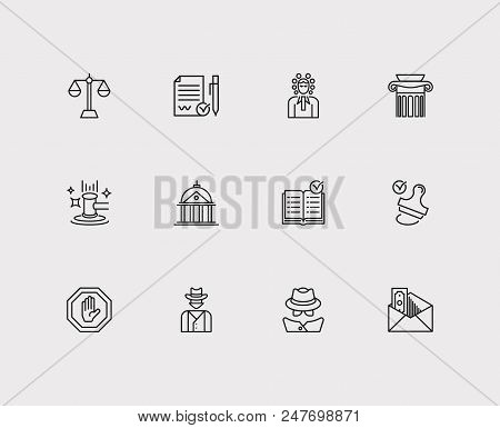 Court Icons Set. Court And Court Icons With Balance, Detective And Stamp. Set Of Contact For Web App