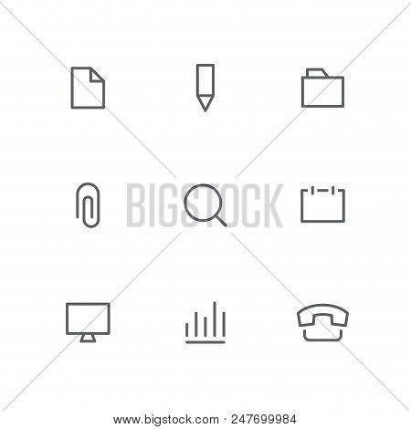 Basic Outline Icon Set - File, Pencil, Folder, Paper Clip, Magnifier, Calendar, Computer, Graph And