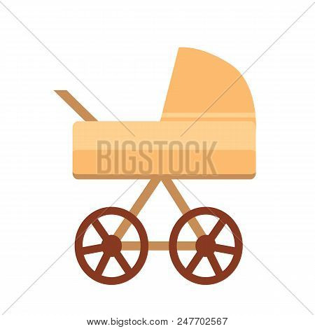 Baby Stroller With Wheels, Baby Stroller Of Sand Color With Handle, Perambulator For Little Kids And