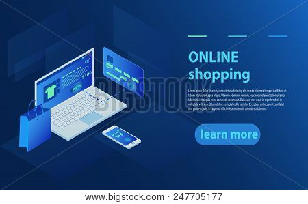 Concept Of Online Shop, Online Store. Transfer Money From Card. Isometric  Laptop, Bank Card And Sho