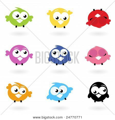 Cute Color Vector Birds Icons Collection Isolated On White..