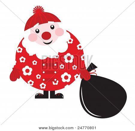 Niedliche Cartoon Retro Floral Santa mit Big-Bag - Vektor...