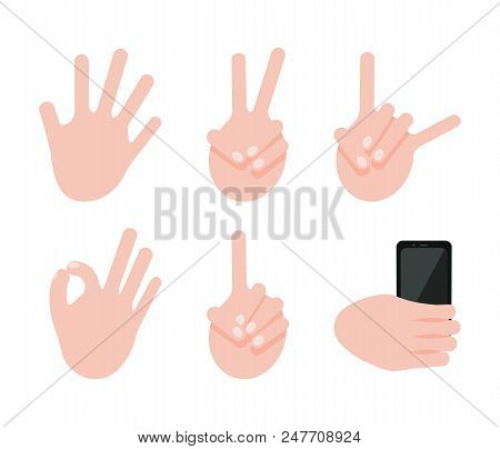 Various Gesture Collection, Vector Illustration Isolated On White Ok And Rock Signs, Peace And Hello