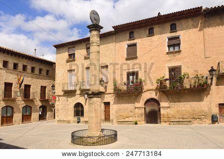 square of Cretas, Teruel province, Aragon, Spain poster