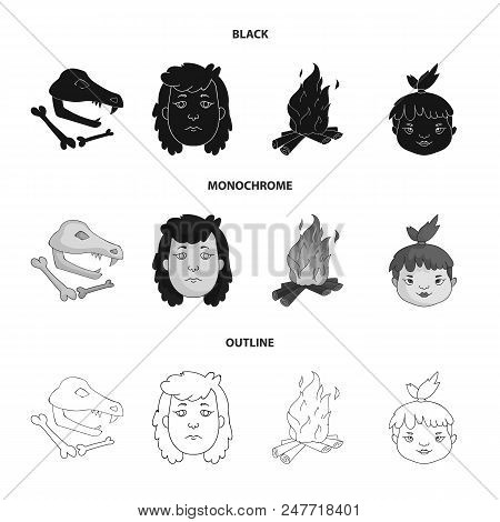 Woman, Hair, Face, Bonfire .stone Age Set Collection Icons In Black, Monochrome, Outline Style Vecto