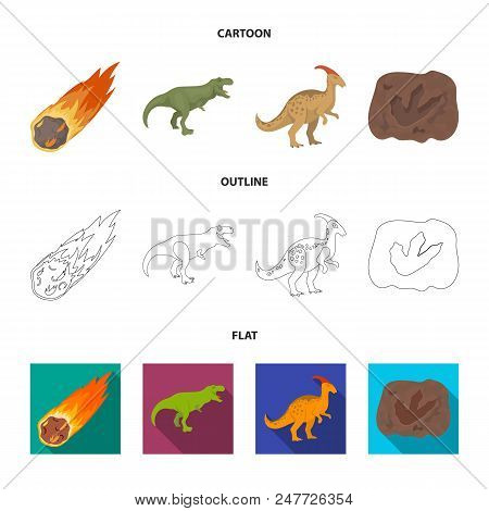 A Falling Meteorite, Parasaurolophus, Tyrannosaurus, An Imprint Of A Dinosaur Foot. The Dinosaur And
