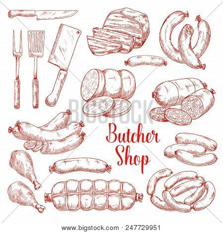 Butcher Shop Meat Products Vector Isolated Sketch Icons. Butchery Gourmet Delicatessen And Gastronom
