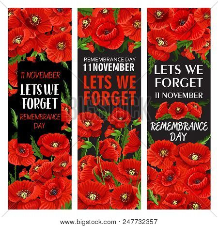 Red Poppy Flower Banner Set For Remembrance Day Design. Lest We Forget Memorial Card Template Of Wor