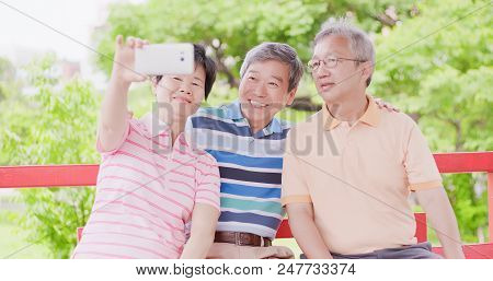 Old People Selfie Happily In The Pavilion