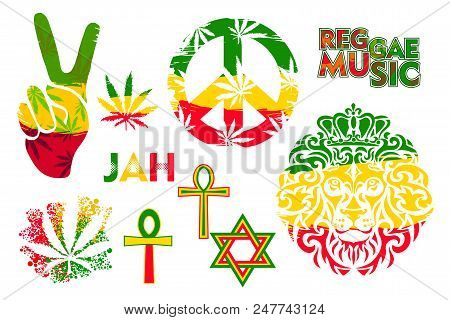 Set Of Isolated Rastaman Symbol In The Colors Of Jamaica - Lion, David Star, Pacifist Sign, Ankh, Le