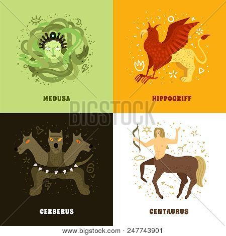 Flat 2x2 design concept with mythical creatures such as medusa hippogriff centaurus and cerberus isolated vector illustration poster