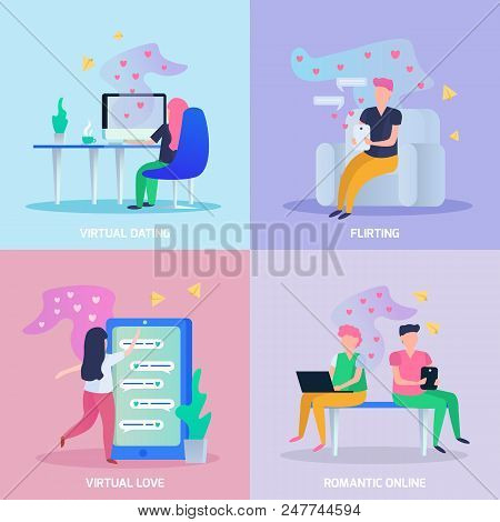 Virtual Love 4 Orthogonal Icons Concept With Online Dating Chat Romantic And Flirting Games Isolated