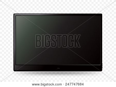 Big Black Wall Tv Icon Template With Shadow On White Transparent Background. Television Led Display