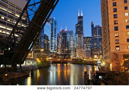 Chicago downtown riverside.