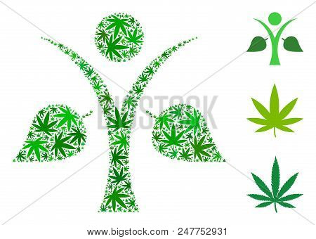 Ecology Man Mosaic Of Weed Leaves In Variable Sizes And Green Shades. Vector Flat Weed Icons Are Uni