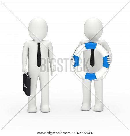 3D Business Man Briefcase And Lifebelt