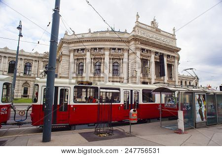 Vienna, Austria - May, 22: View Of The Burgtheater Austrian National Theatre In Vienna On May 22, 20