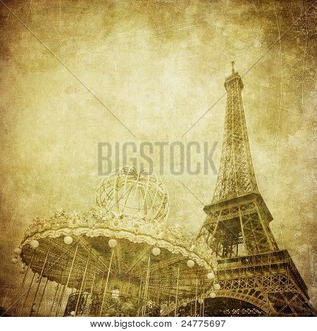 Vintage image of Eiffel tower Paris France poster