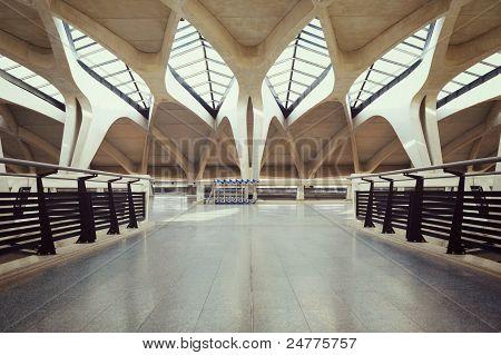 Empty airport hall way